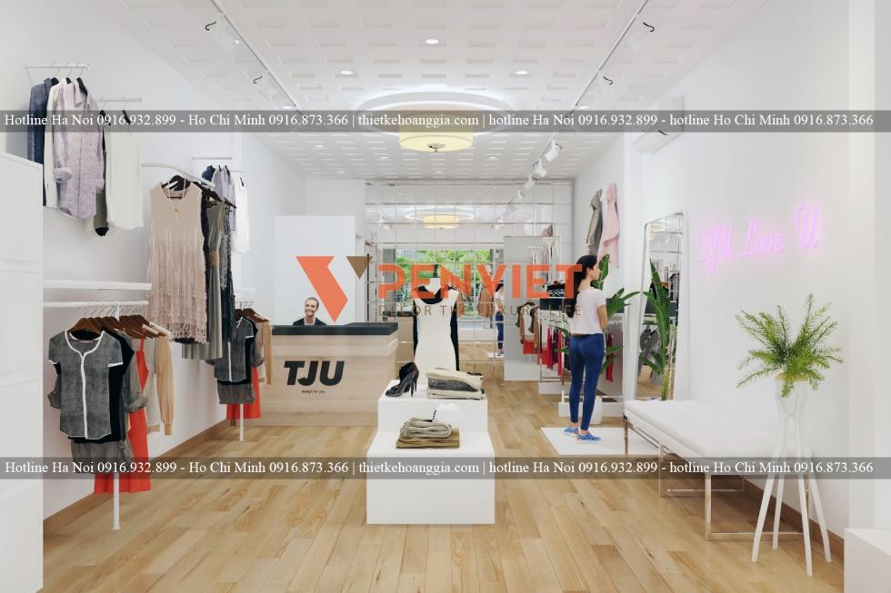 Thiết kế shop thời trang nữ cao cấp với tone màu trắng tinh khôi