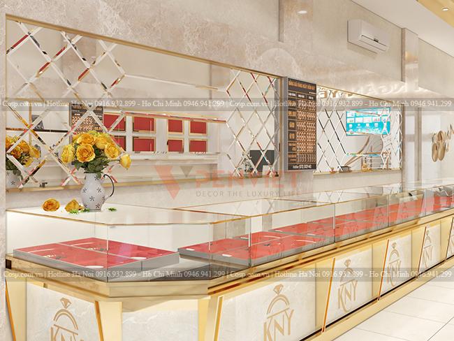 Thiết kế sang trọng với gương lá hẹ, viền nẹp inox vàng gương