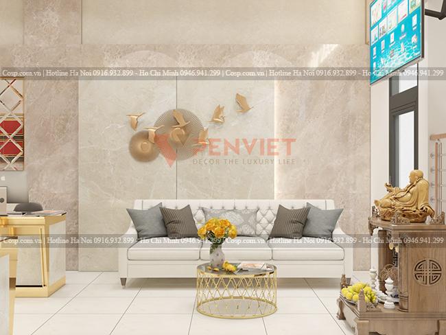 Khu tiếp đón khách hàng trong dự án thiết kế tiệm vàng Kim Ngân Yến