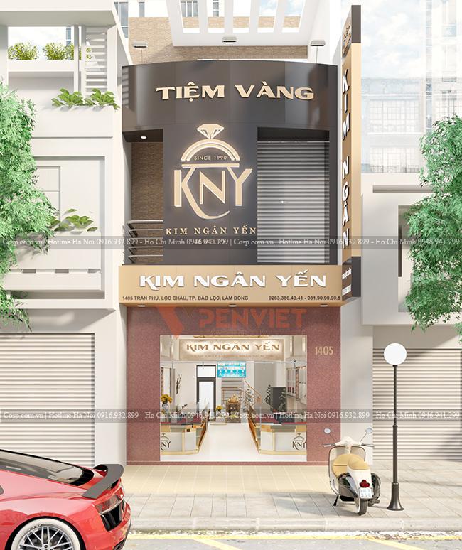 Khu vực mặt tiền trong dự án thiết kế tiệm vàng Kim Ngân Yến