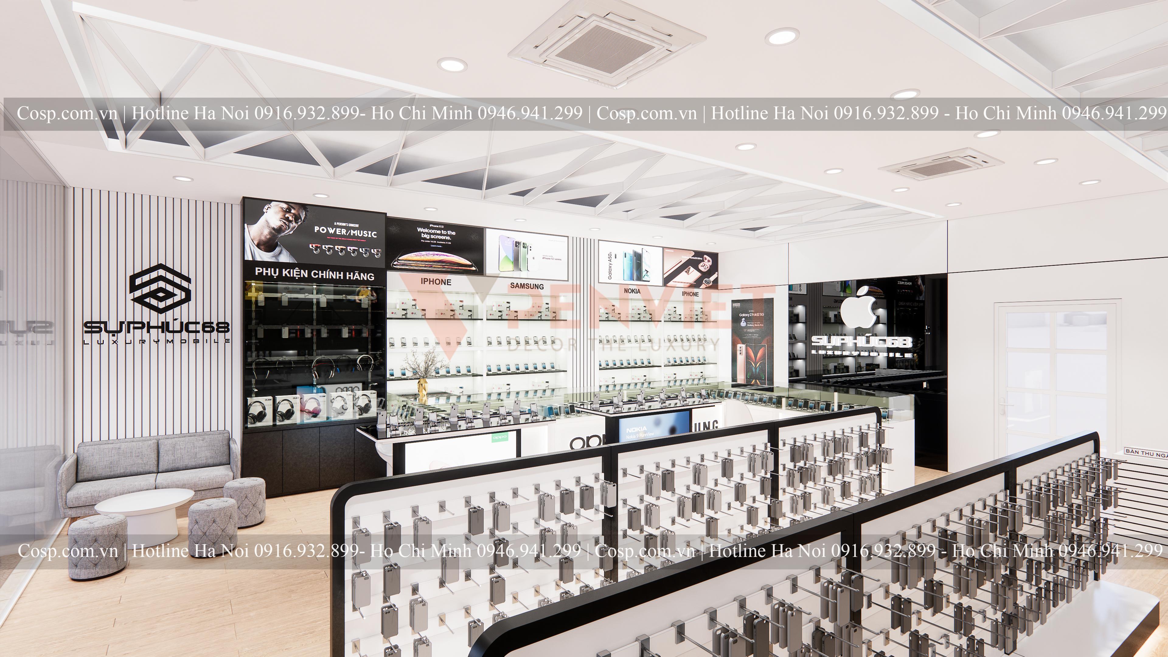 Giải pháp làm đẹp thiết kế shop điện thoại băng kính cường lực