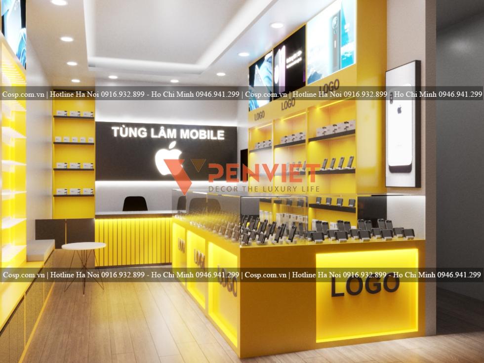 Hình ảnh thiết kế shop điện thoại 25m2