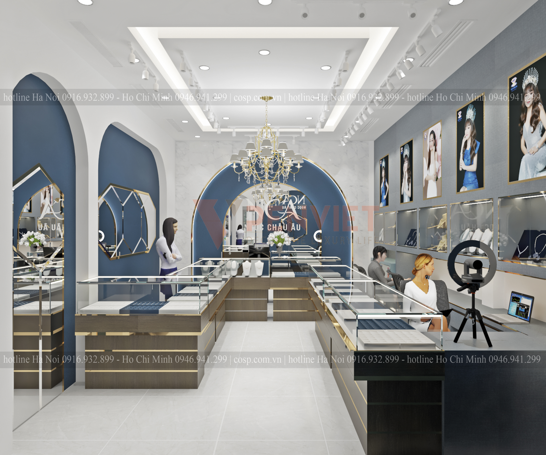 Màu xanh đậm thích hợp để thể hiện sự đẳng cấp cho thiết kế tiệm vàng