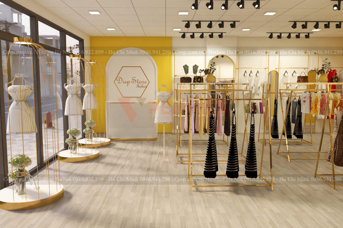 Sự năng động, trẻ trung được các kiến trúc sư thể hiện trong thiết kế shop thời trang này