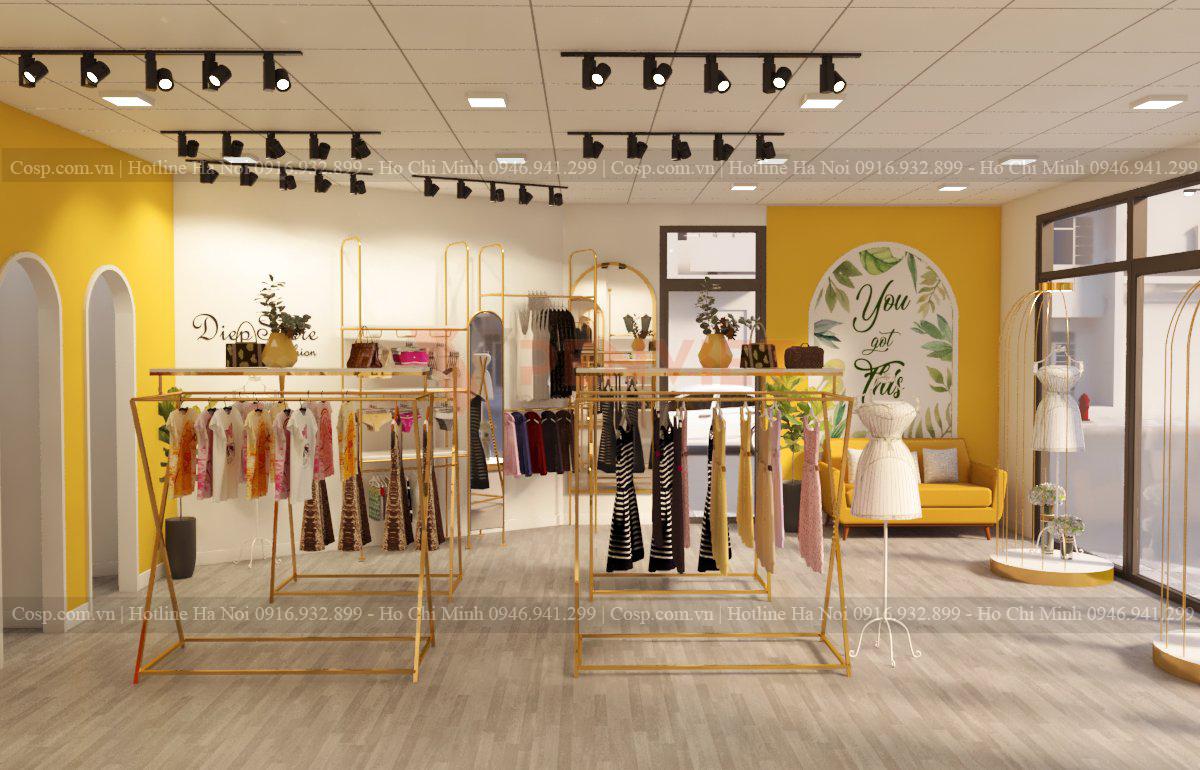 Thiết kế shop thời trang với màu sắc hài hòa, tinh tế