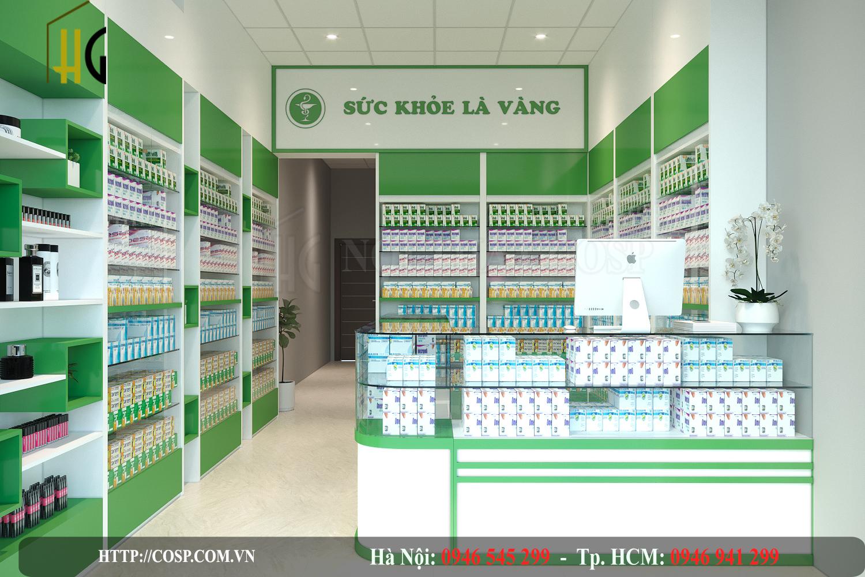 Thiết kế cửa hàng thuốc 16m2