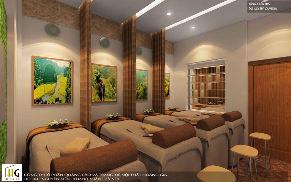 Camelia Spa có sự kết hợp tinh tế về màu sắc và vật liệu