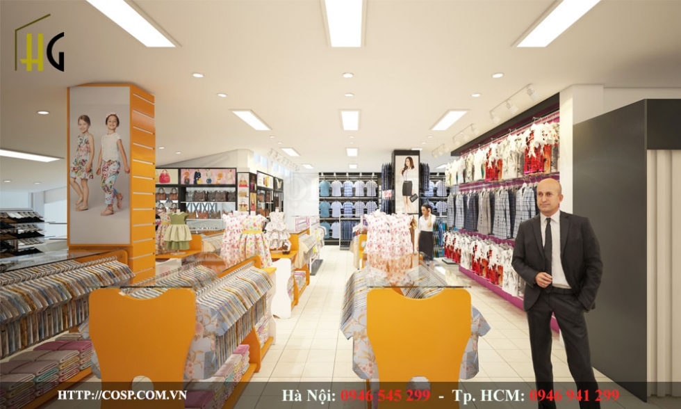 Hình ảnh shop thời trang đẹp với nội thất màu vàng