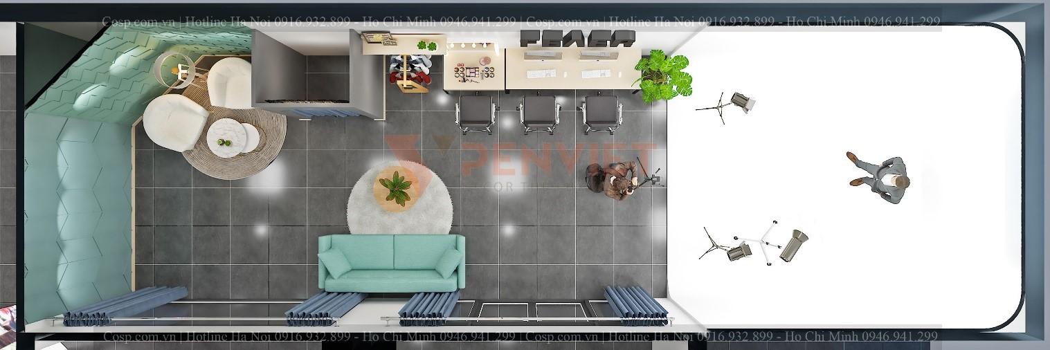 Bố trí không gian thiết kế studio Feaer Denim