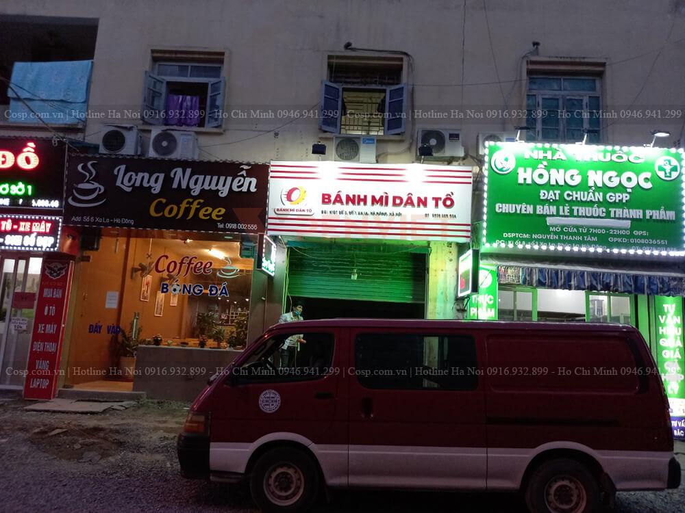 Hình ảnh thực tế mặt tiền cửa hàng bánh mì dân tổ tại Hà Đông