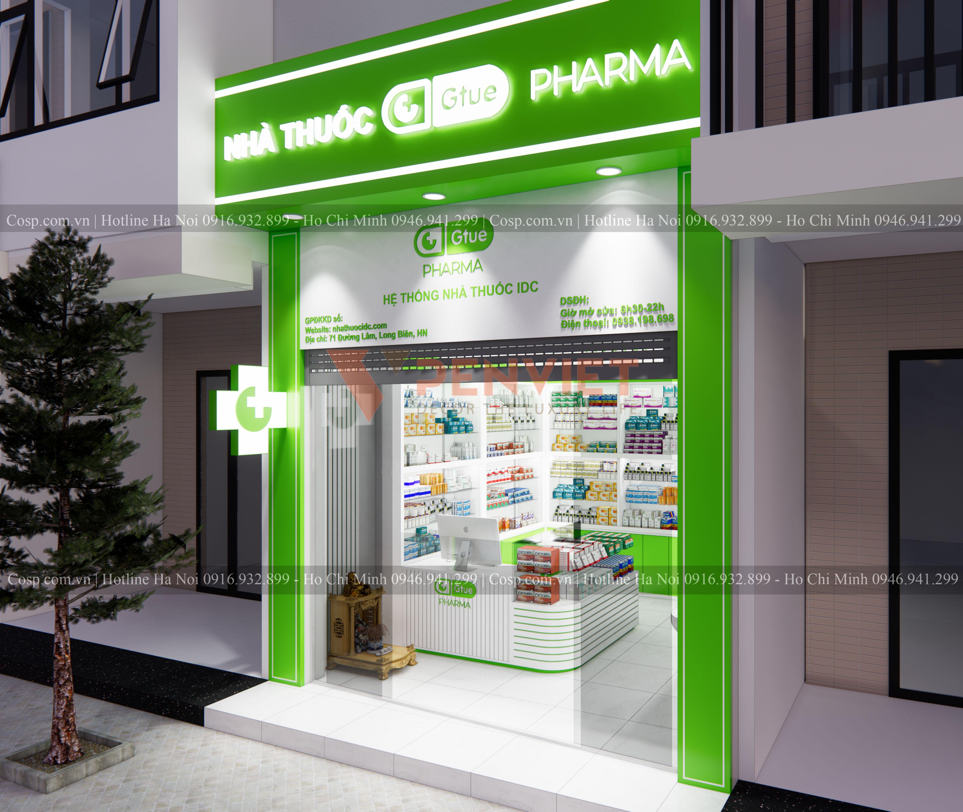 Khu vực mặt tiền của mẫu thiết kế hiệu thuốc Gtue - Pharma