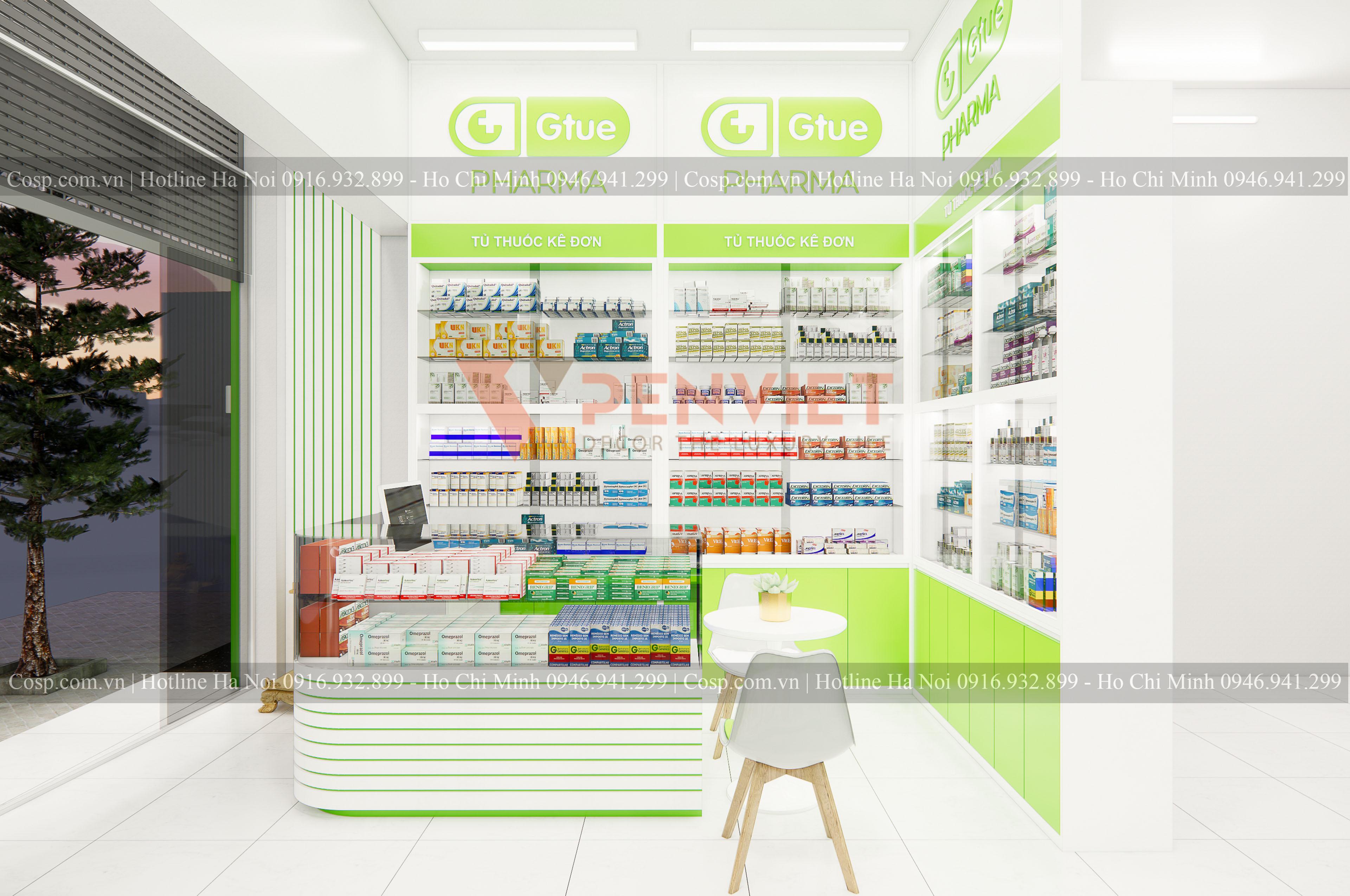 Tủ trưng bày thuốc của mẫu thiết kế hiệu thuốc Gtue - Pharma