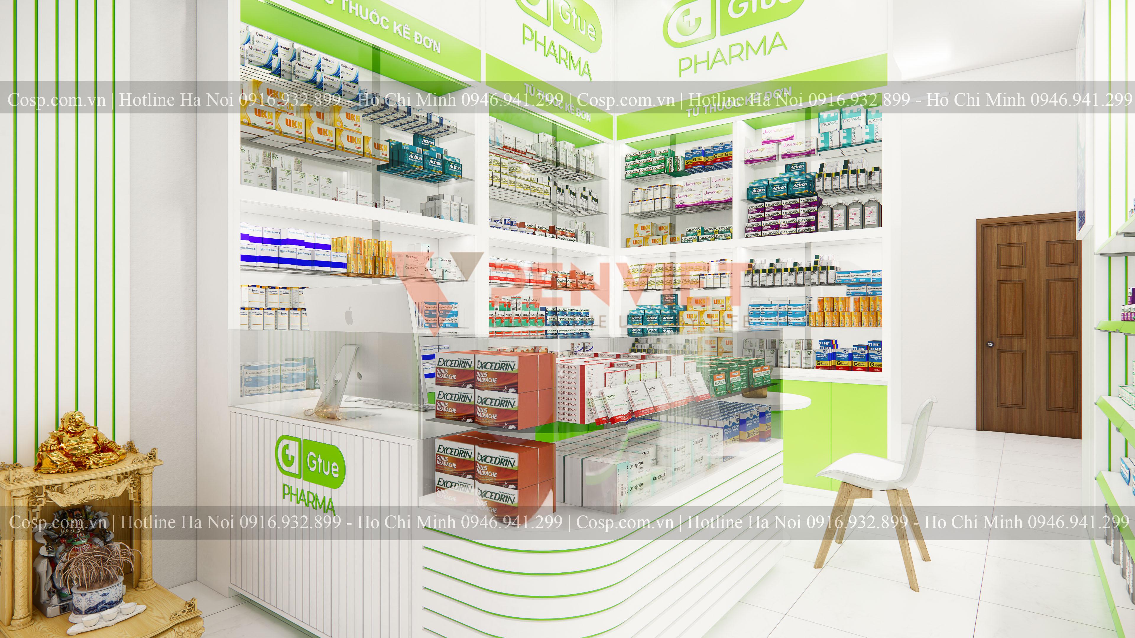 Khu vực quầy thu ngân của mẫu thiết kế hiệu thuốc Gtue - Pharma