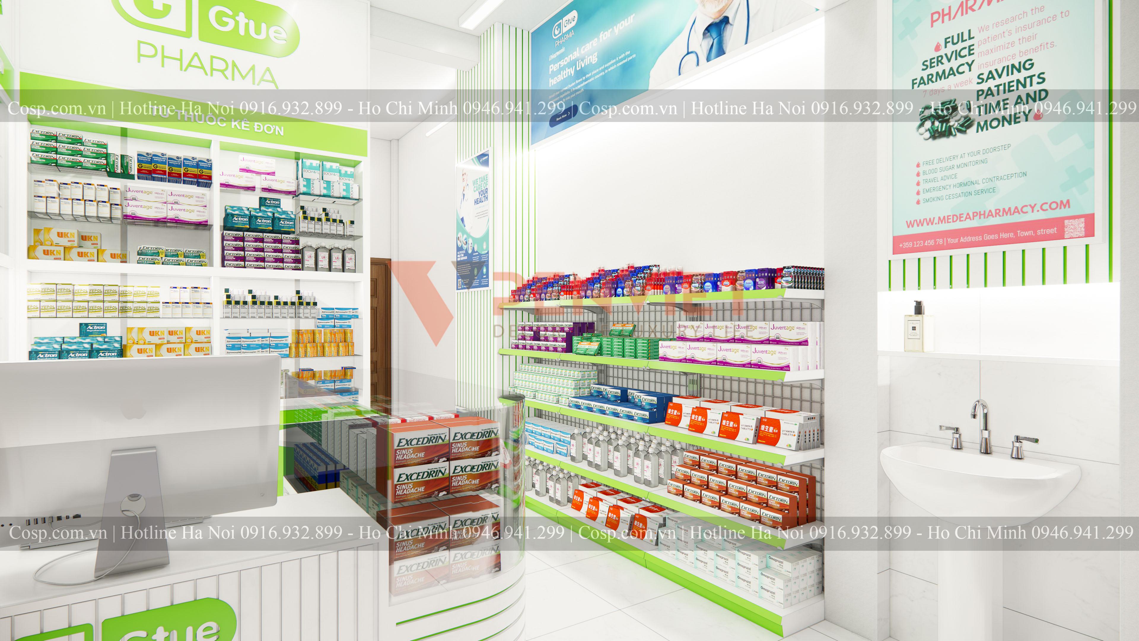Kệ siêu thị được dùng cho mẫu thiết kế hiệu thuốc Gtue - Pharma