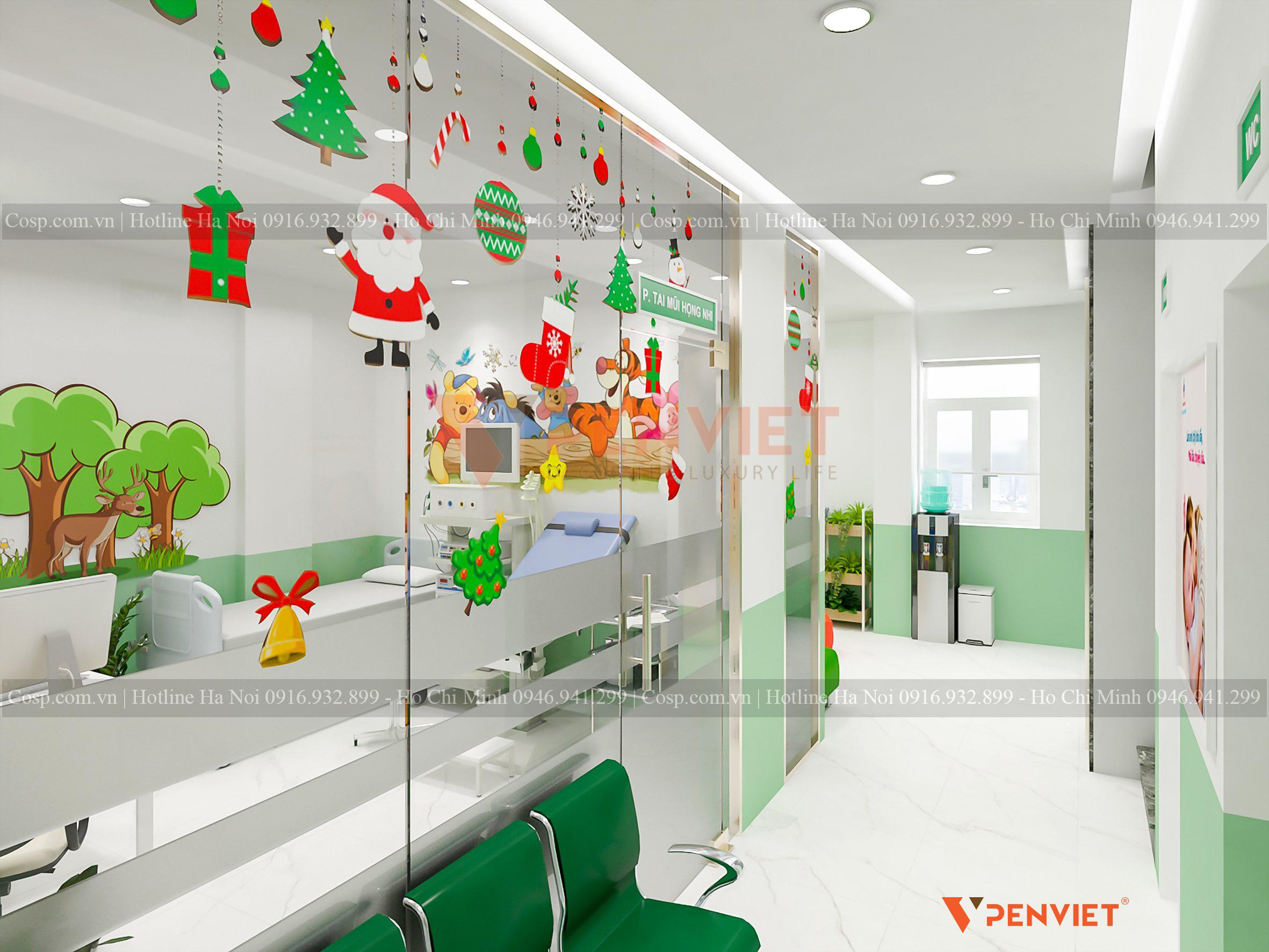 Thiết kế phòng khám nhi khoa với màu sắc tươi vui