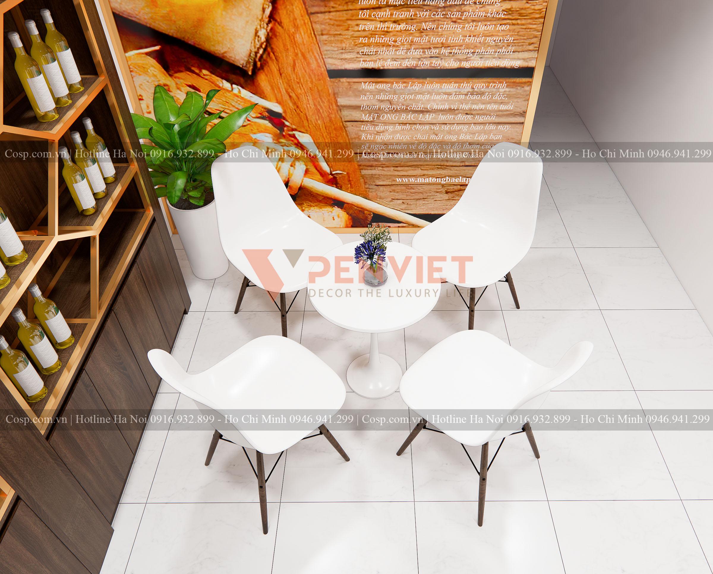 Bàn ghế tiếp khách cho mẫu dự án Thiết kế shop mật ong Bác Lập