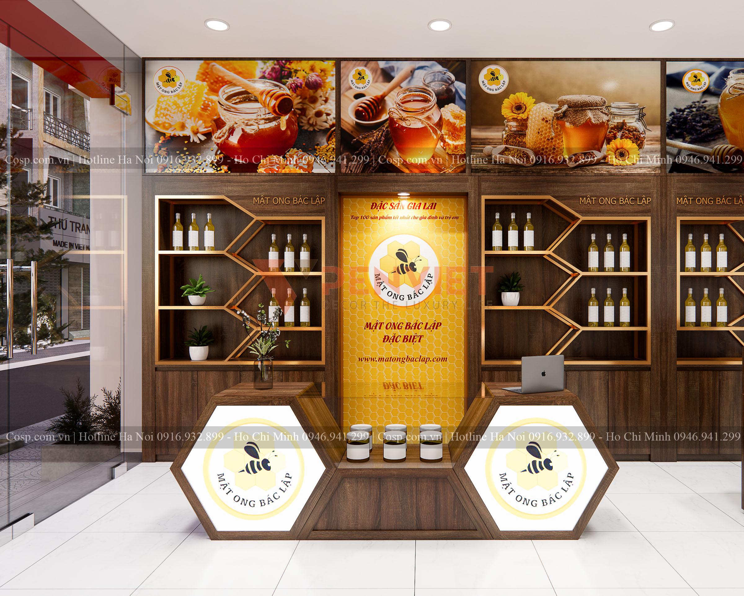 Thiết kế shop mật ong Bác Lập - phần kệ tủ trưng bày sát cửa ra vào