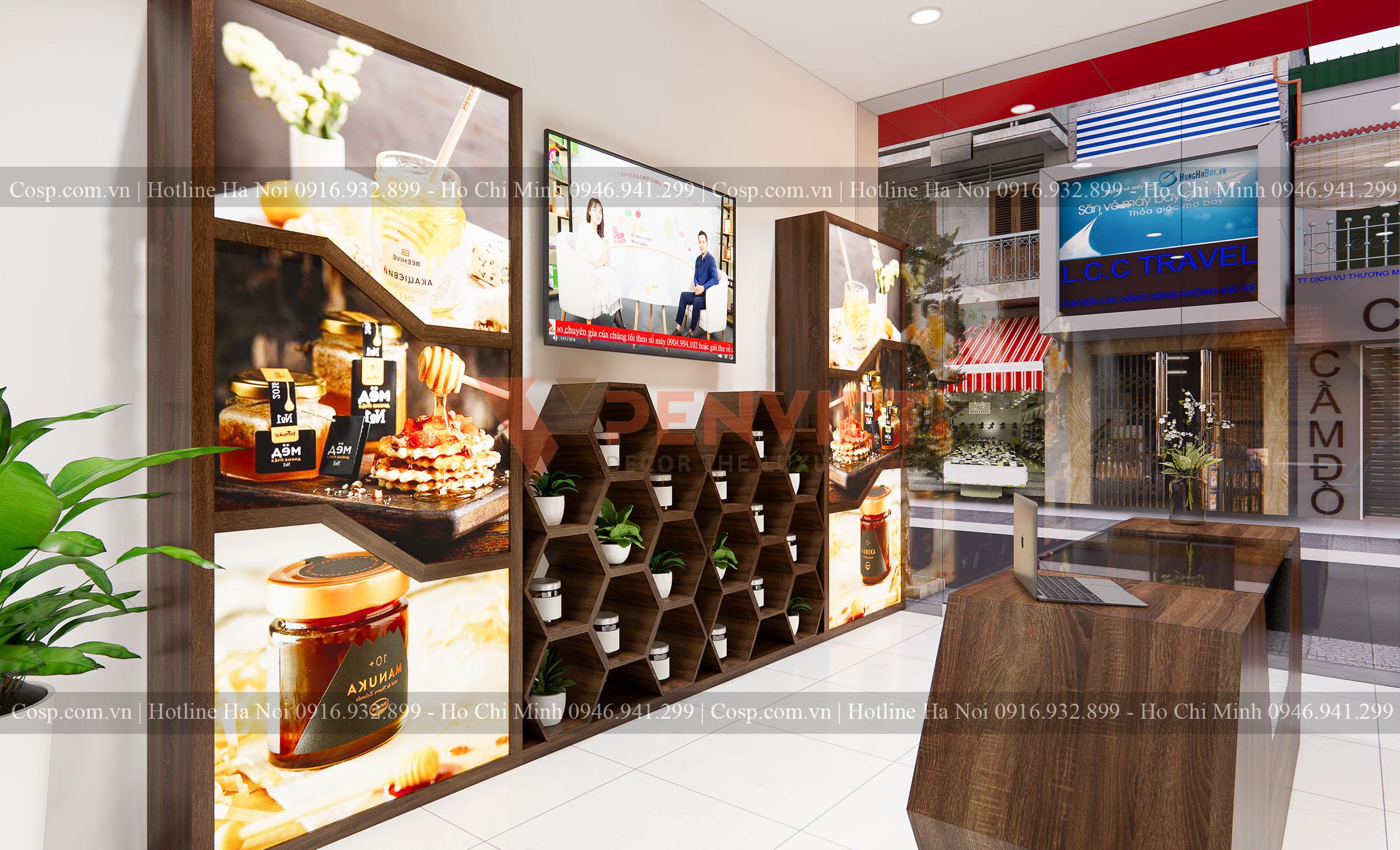 Kệ sát tường bên phải của mẫu Thiết kế shop mật ong Bác Lập