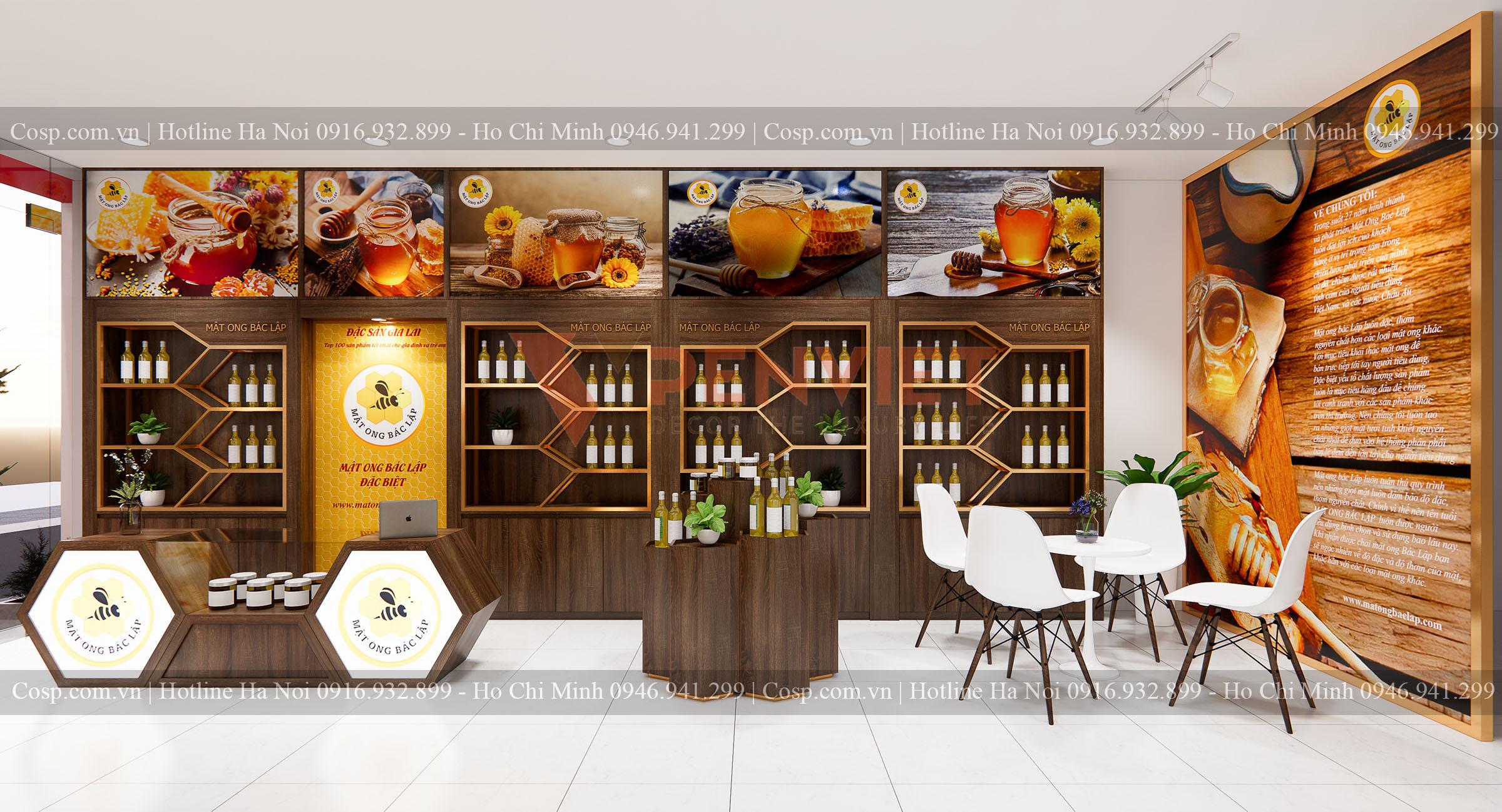 Kệ sát tường bên trái của mẫu Thiết kế shop mật ong Bác Lập