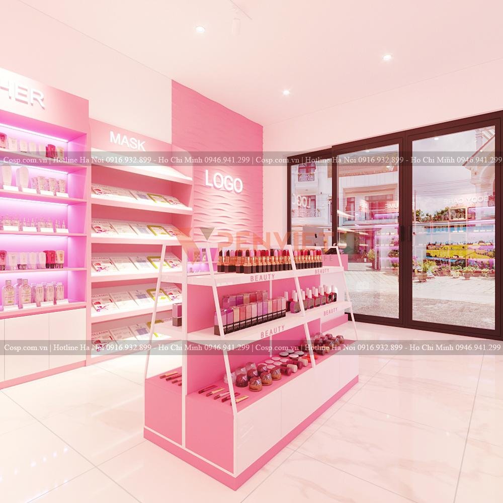 Thiết kế shop mỹ phẩm chị Lan - Khu vực trưng bày sản phẩm
