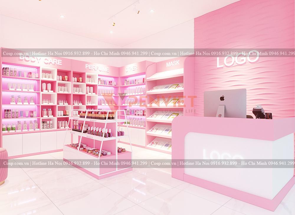 Quầy thu ngân của mẫu thiết kế shop mỹ phẩm chị Lan