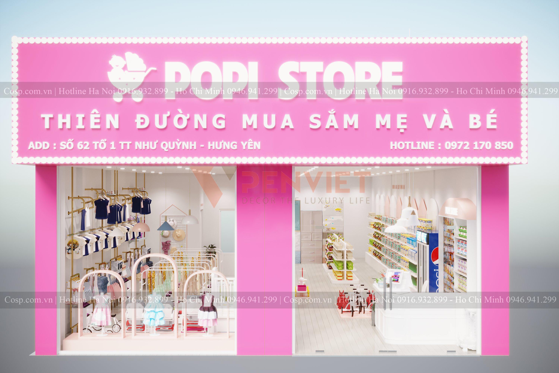 Thiết kế cửa hàng mẹ và bé POPI Store - mặt tiền
