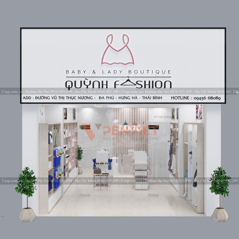 Thiết kế cửa hàng thời trang Quỳnh fashion - mặt tiền của shop