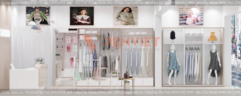 Khu vực quầy thu ngân của mẫu thiết kế cửa hàng thời trang Quỳnh Fashion