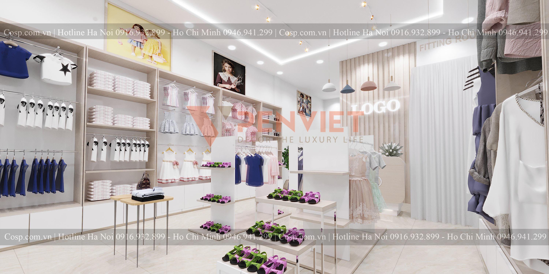 Khu vực trưng bày sản phẩm của mẫu thiết kế cửa hàng thời trang Quỳnh Fashion