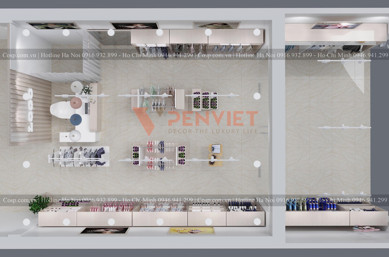 Khu vực phòng thay đồ của mẫu thiết kế cửa hàng thời trang Quỳnh Fashion