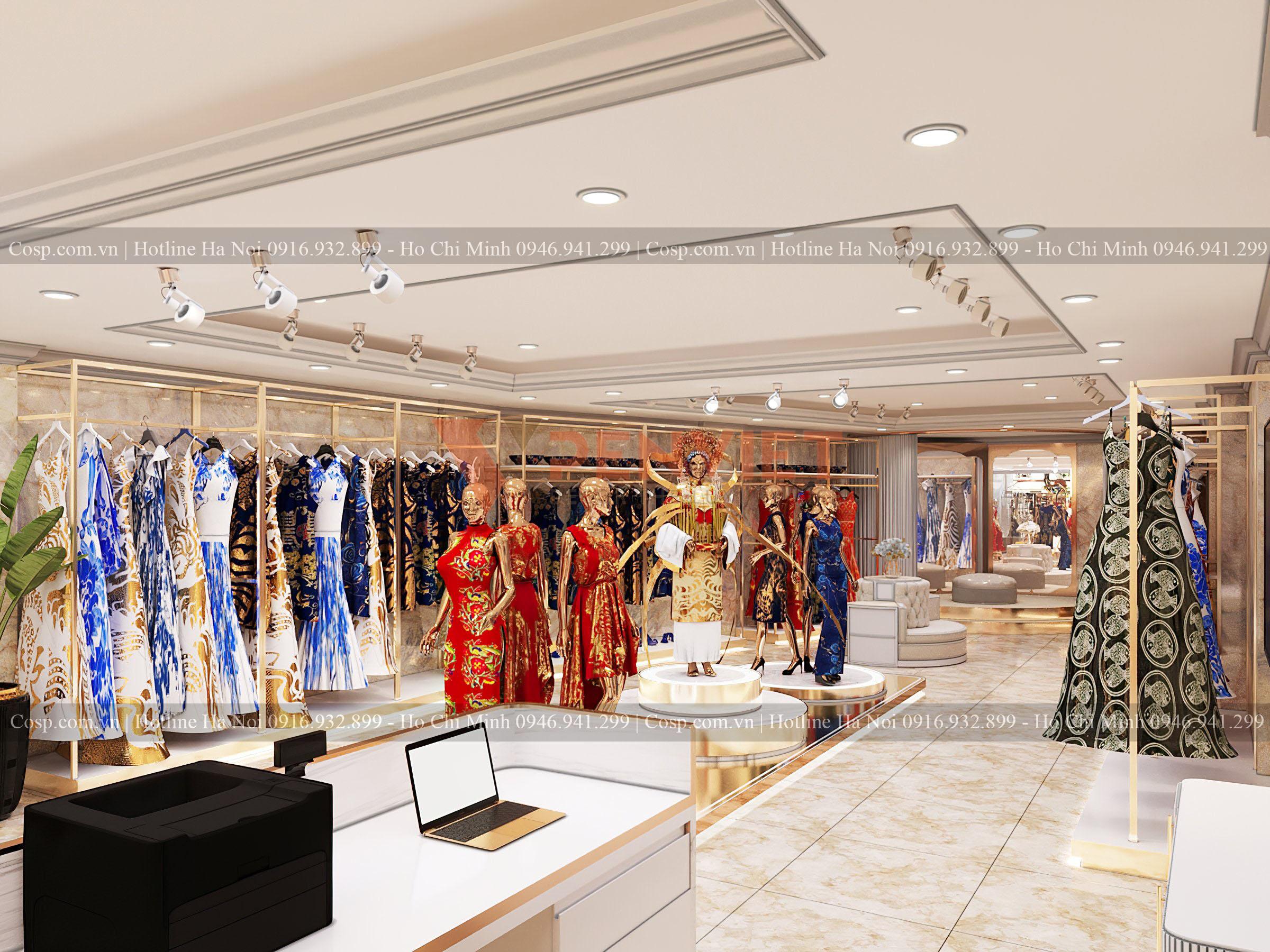 Hình ảnh shop áo dài thời trang Hương Queen dưới góc nhìn từ quầy lễ tân