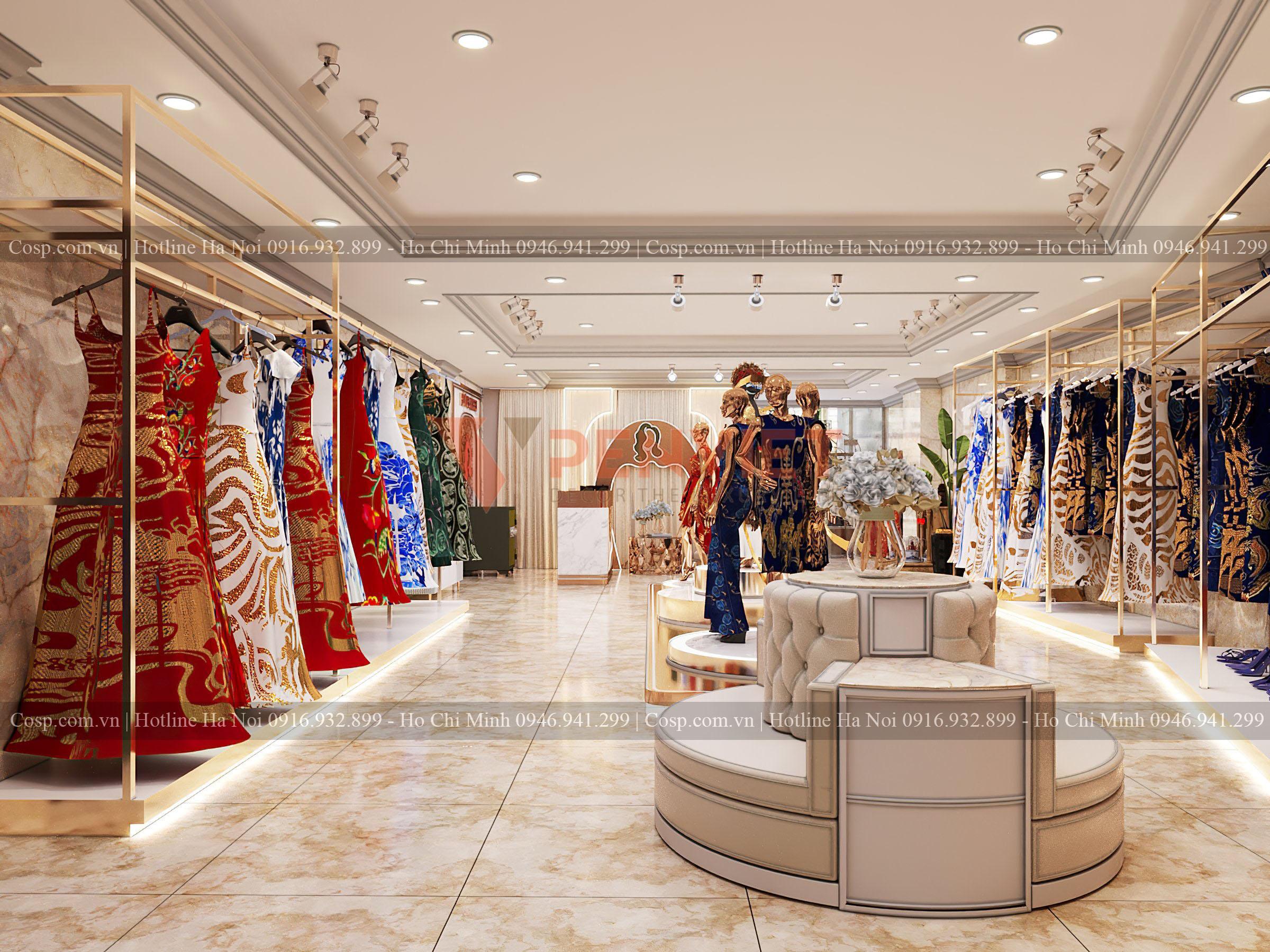 Bố trí ghế ngồi chờ cao cấp ở phía trong của cửa hàng thời trang Hương Queen