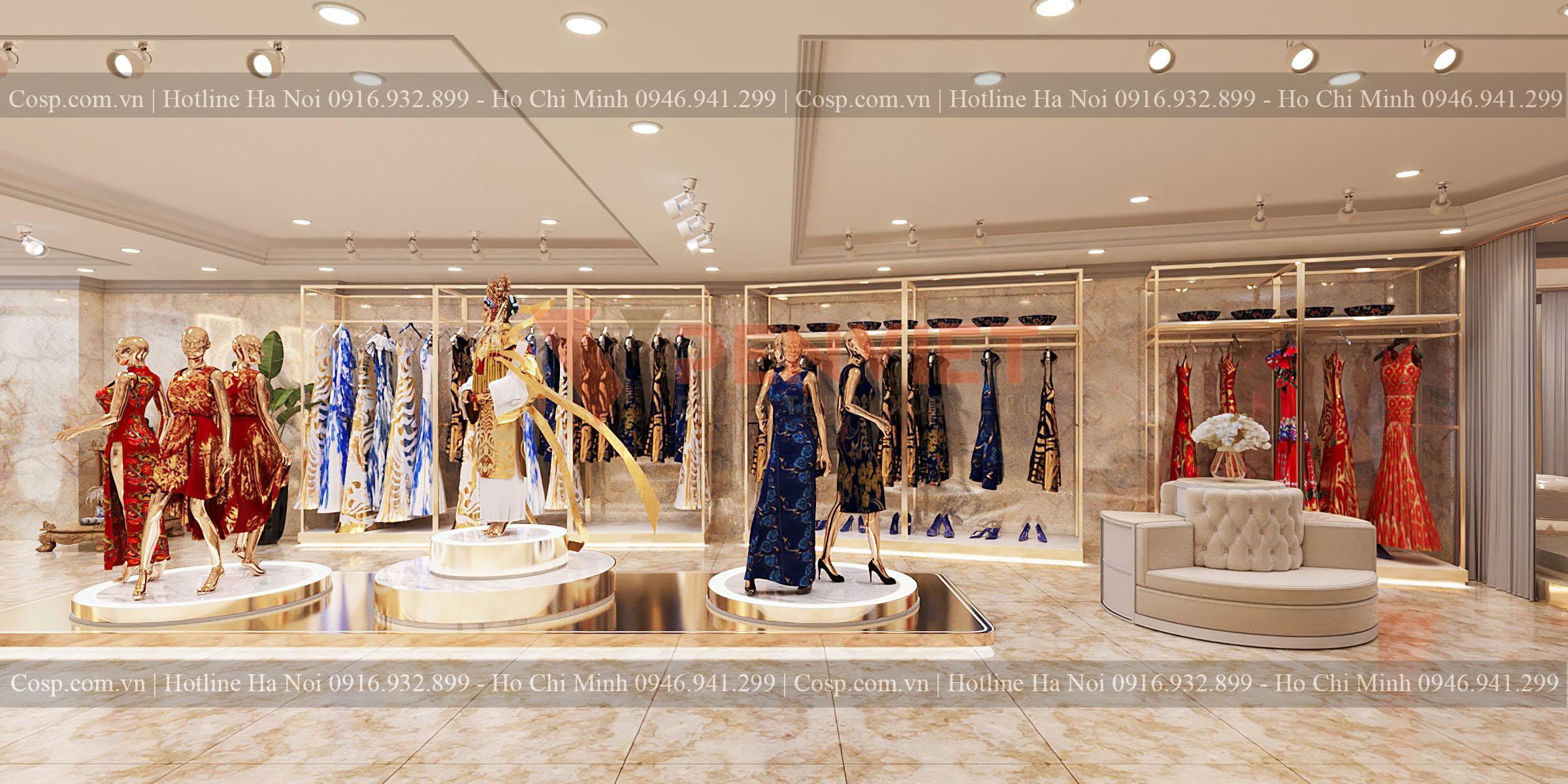 Kệ trưng bày sát tường của shop Hương Queen được thiết kế sang trọng, bắt mắt