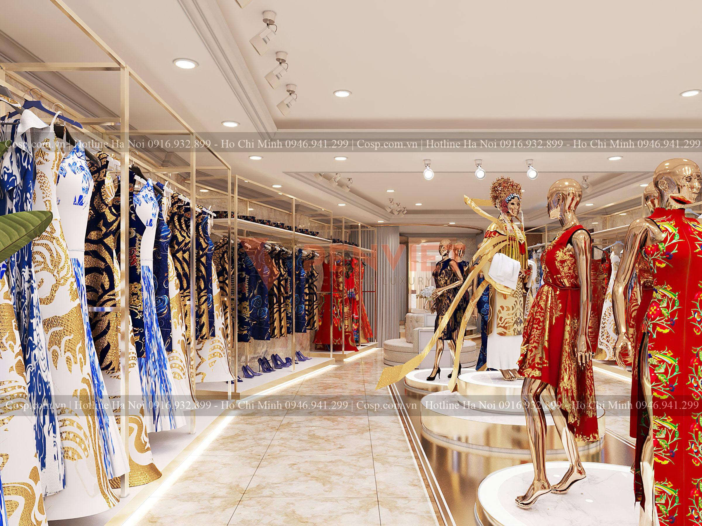 Thiết kế kệ trưng bày sát tường cho shop quần áo Hương Queen