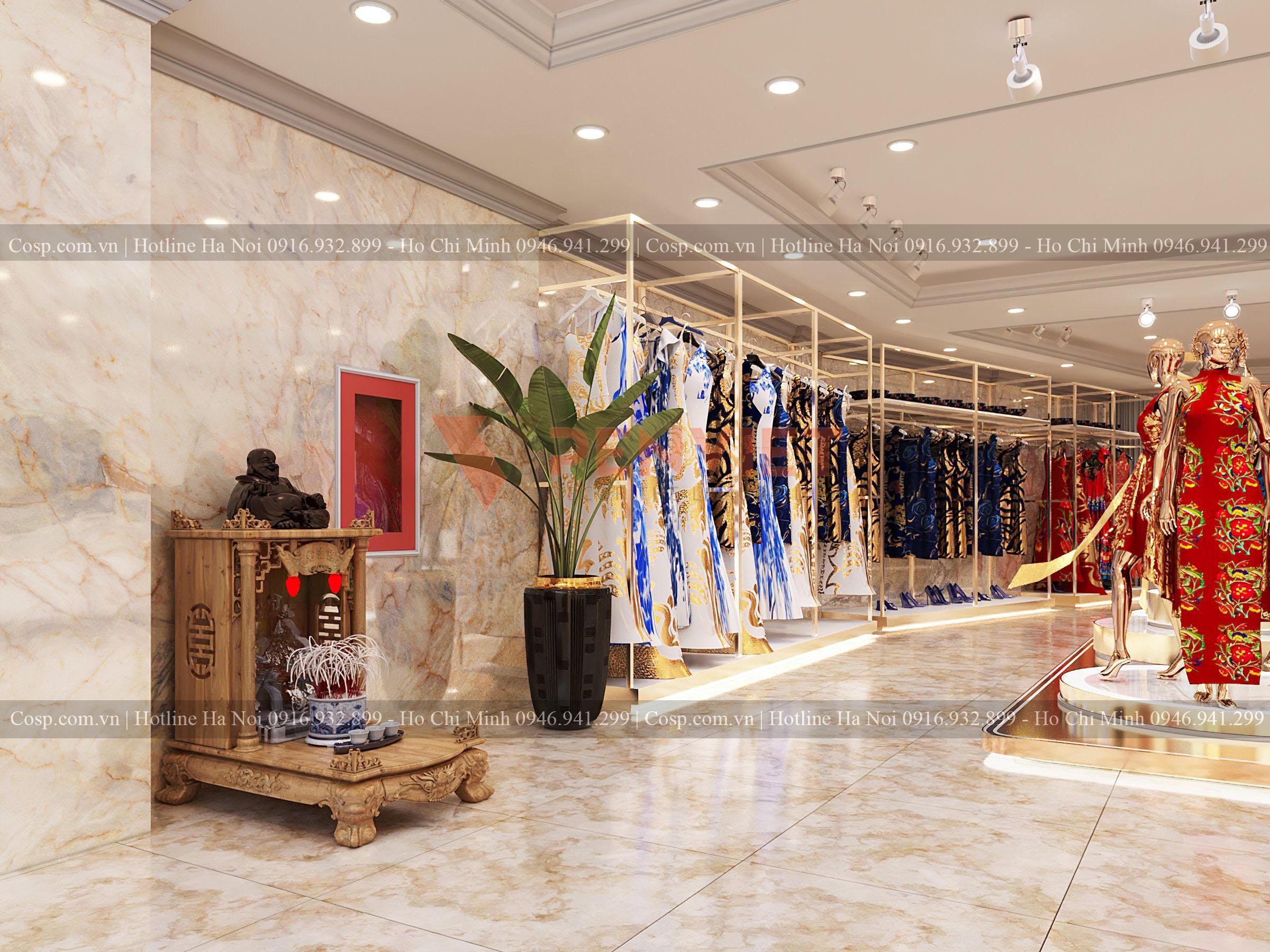 Kệ trưng bày sát tường được làm từ gỗ MDF lõi xanh cốt Thái chống ẩm