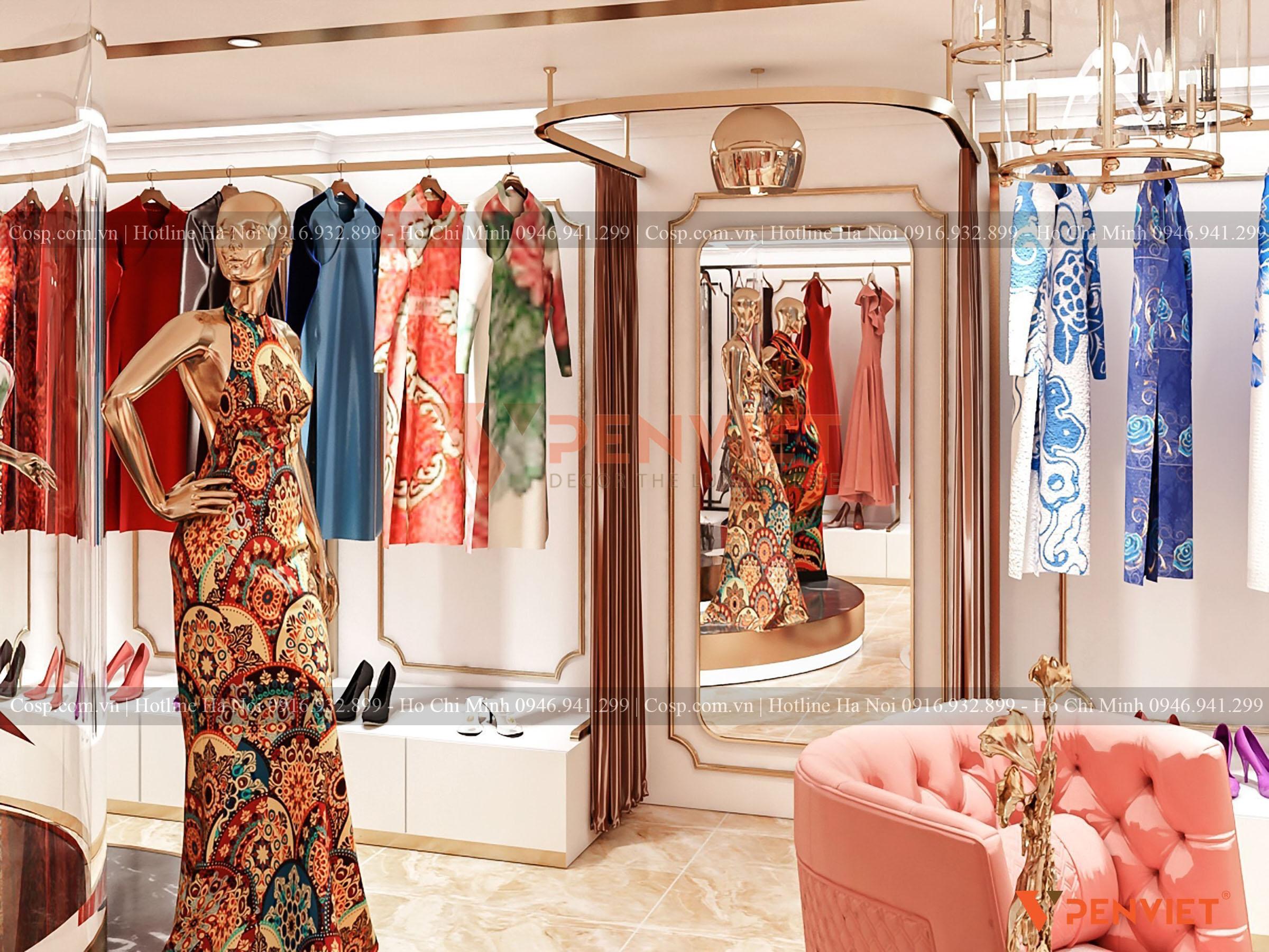 Thiết kế phòng thử đồ tại tầng 2 của cửa hàng thời trang Hương Queen