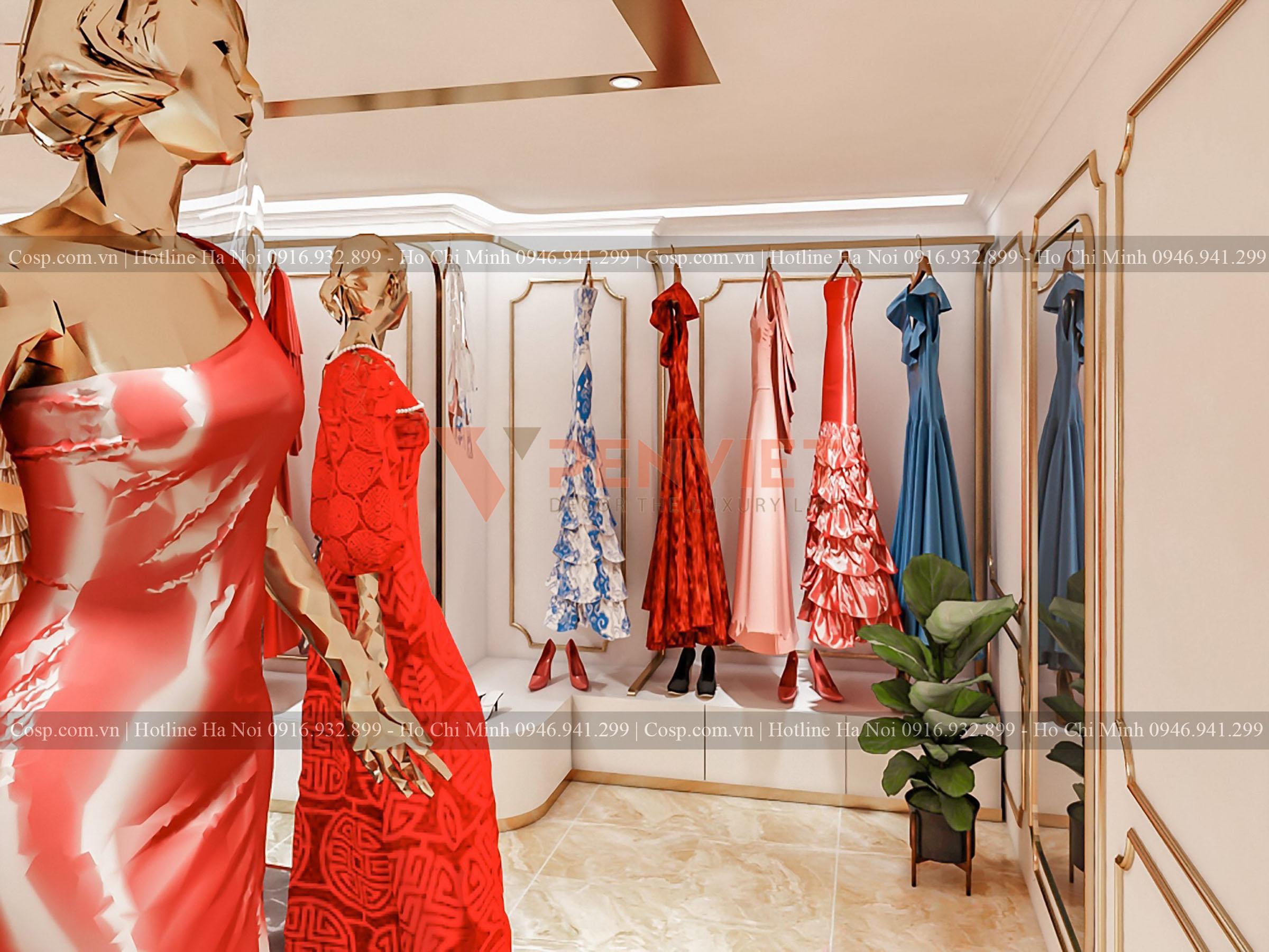 Thiết kế kệ treo quần áo tại tầng 2 shop áo dài Hương Queen