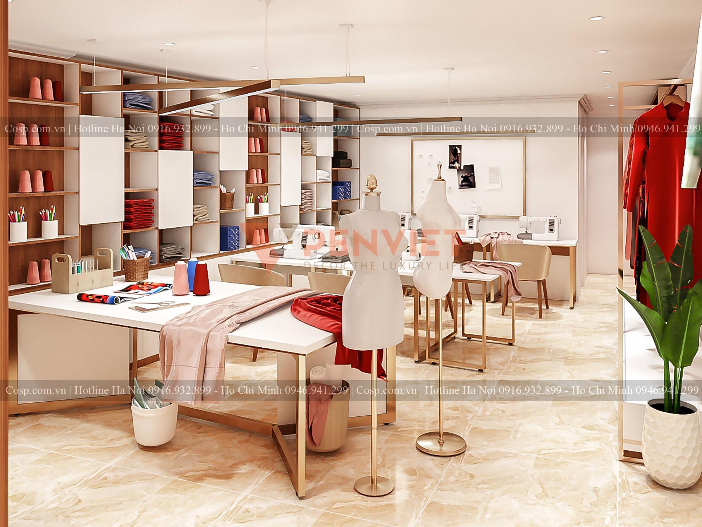 Thiết kế nội thất khu vực dành cho may và thiết kế quần áo ở tầng 2