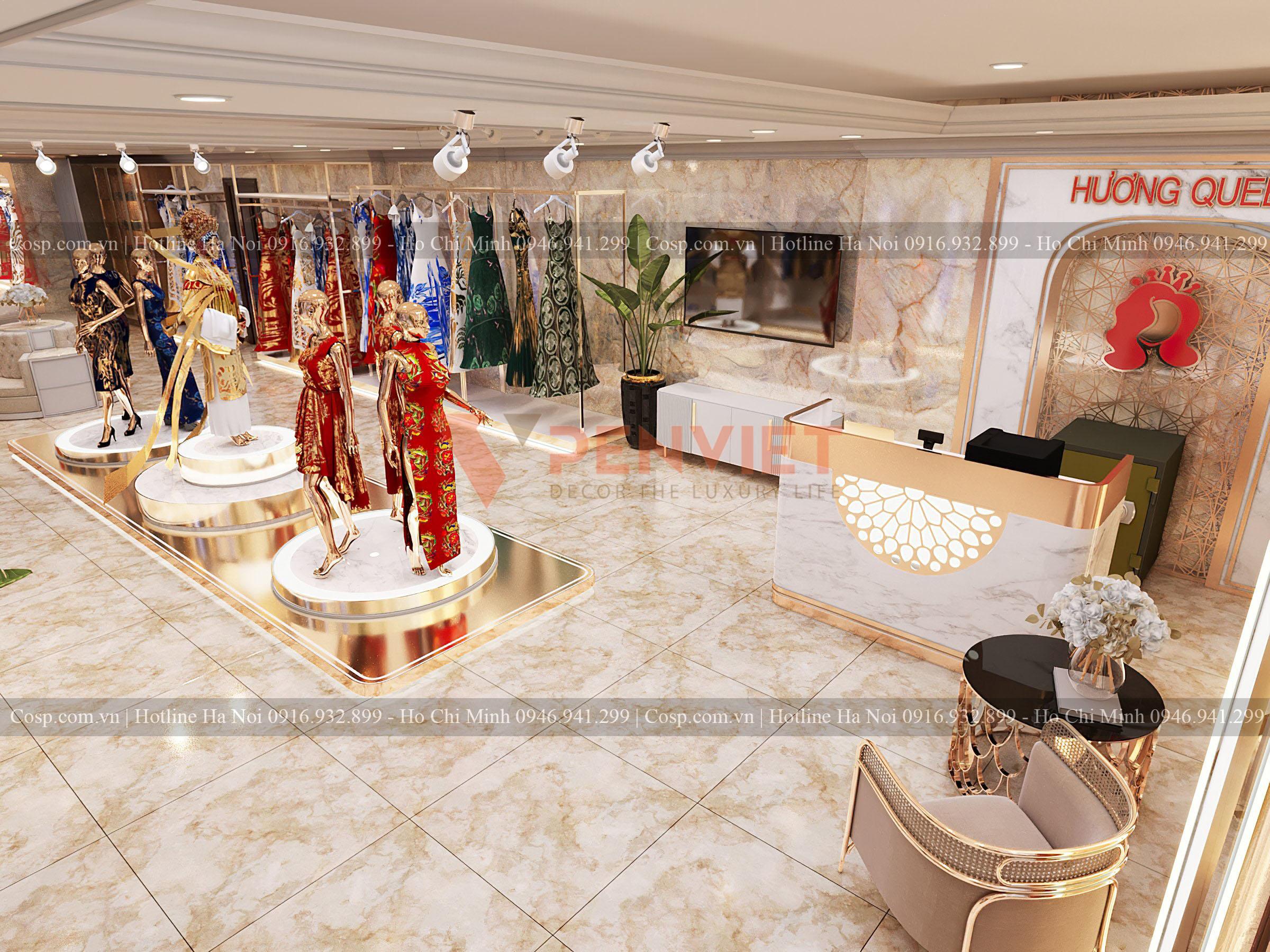Thiết kế khu vực lễ tân và tiếp đãi khách hàng của shop áo dài Hương Queen