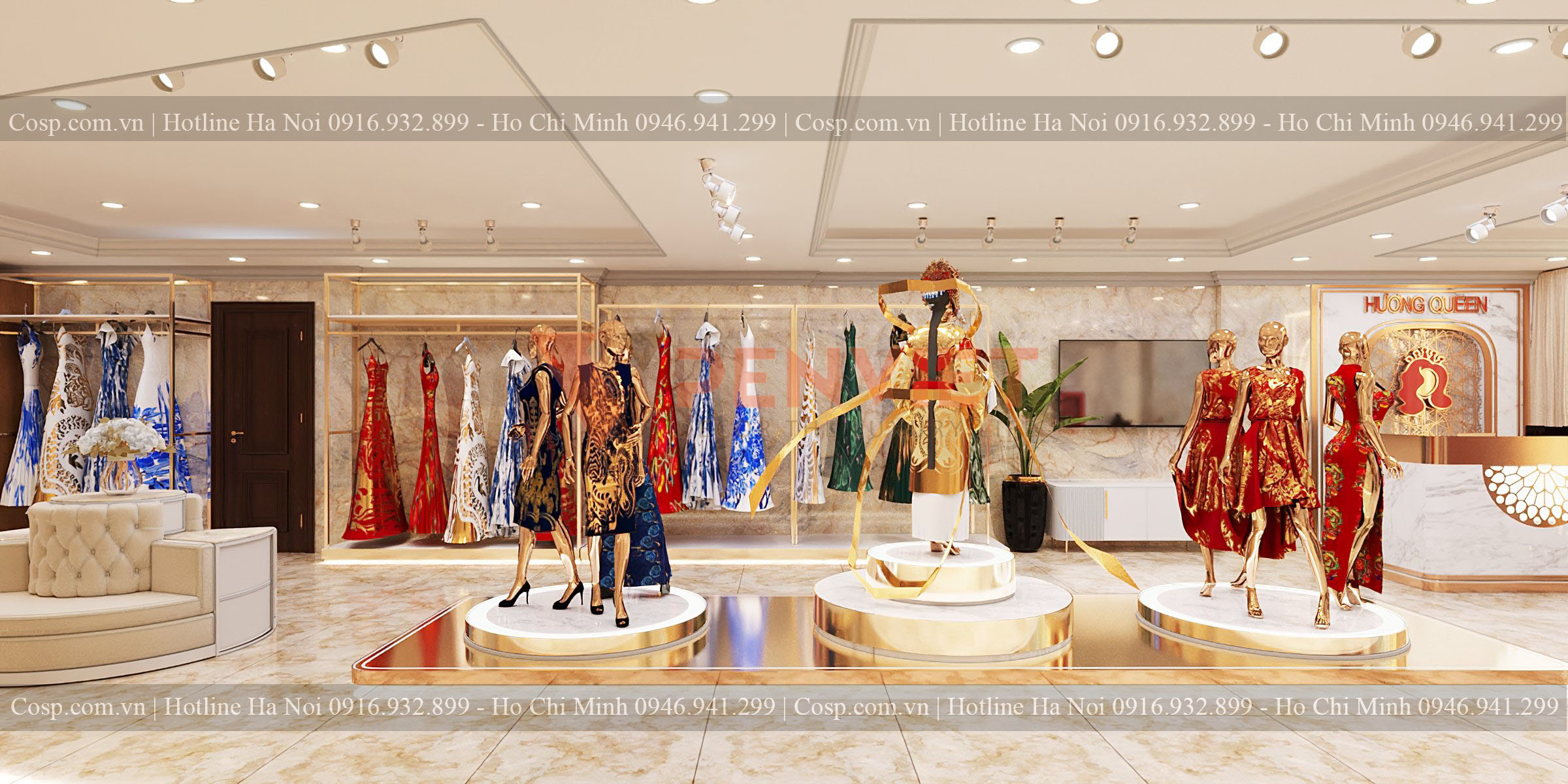 Hình ảnh 3D khu vực trưng bày sản phẩm áo dài của shop Hương Queen
