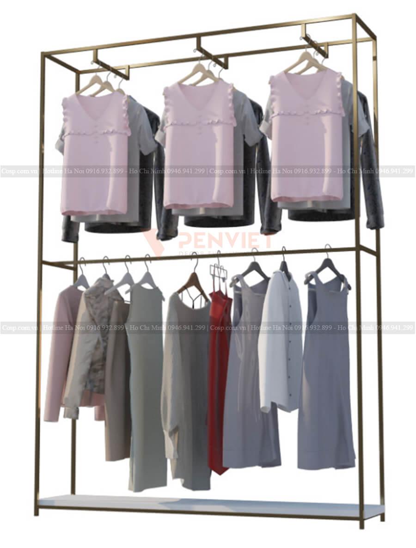 Giá treo đơn 2 tầng sát tường tại cửa hàng thời trang