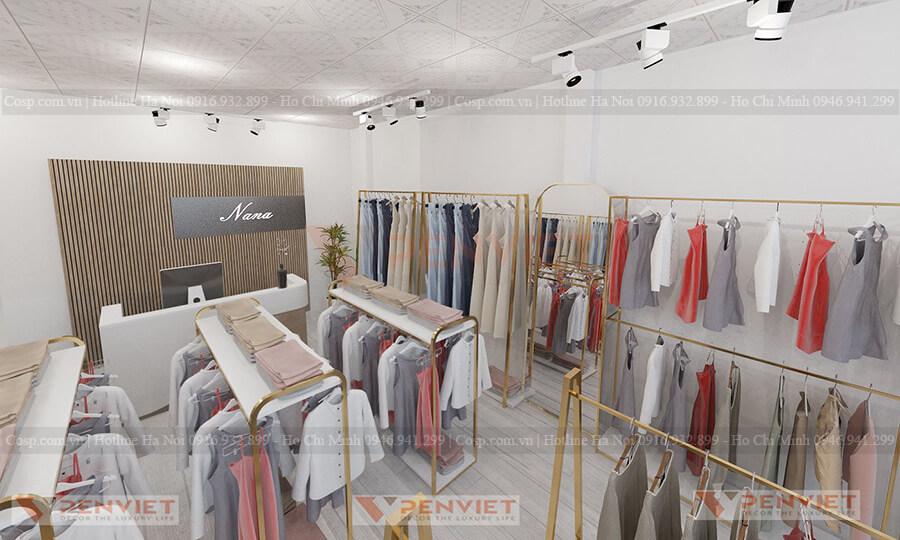Hệ thống giá, kệ trưng bày sản phẩm tại cửa hàng thời trang của mr Vũ