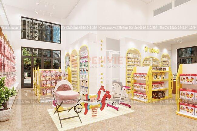 Kệ giữa cửa hàng thiết kế với chiều cao phù hợp cho các bé