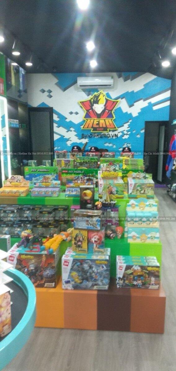 Hình ảnh thi công shop đồ chơi trẻ em Hero Shop