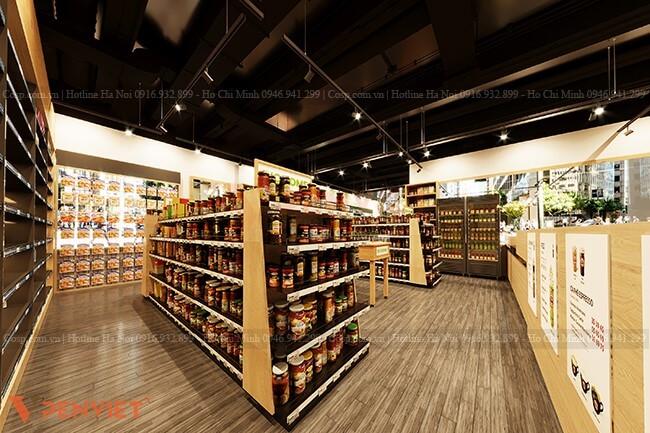 Sử dụng gỗ MDF phủ Melamine làm vật liệu chính trong thiết kế nội thất siêu thị mini