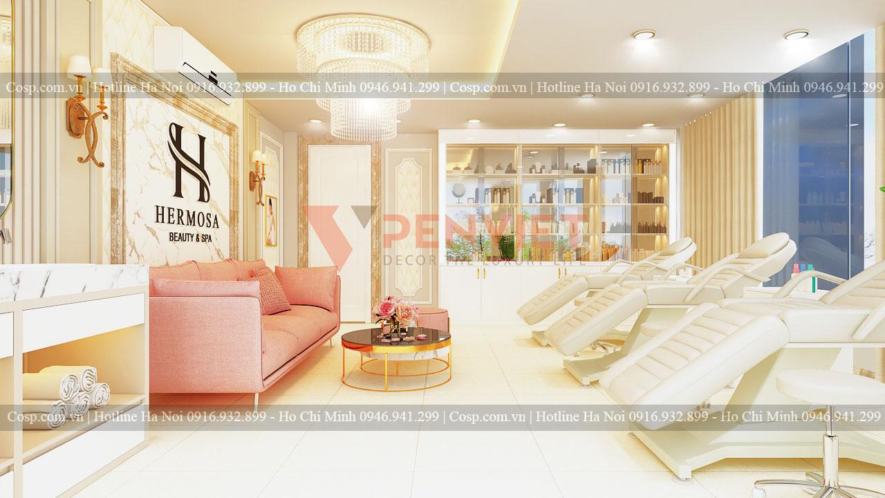 Thiết kế spa Hermosa - Khu vực bàn tiếp khách tầng 3