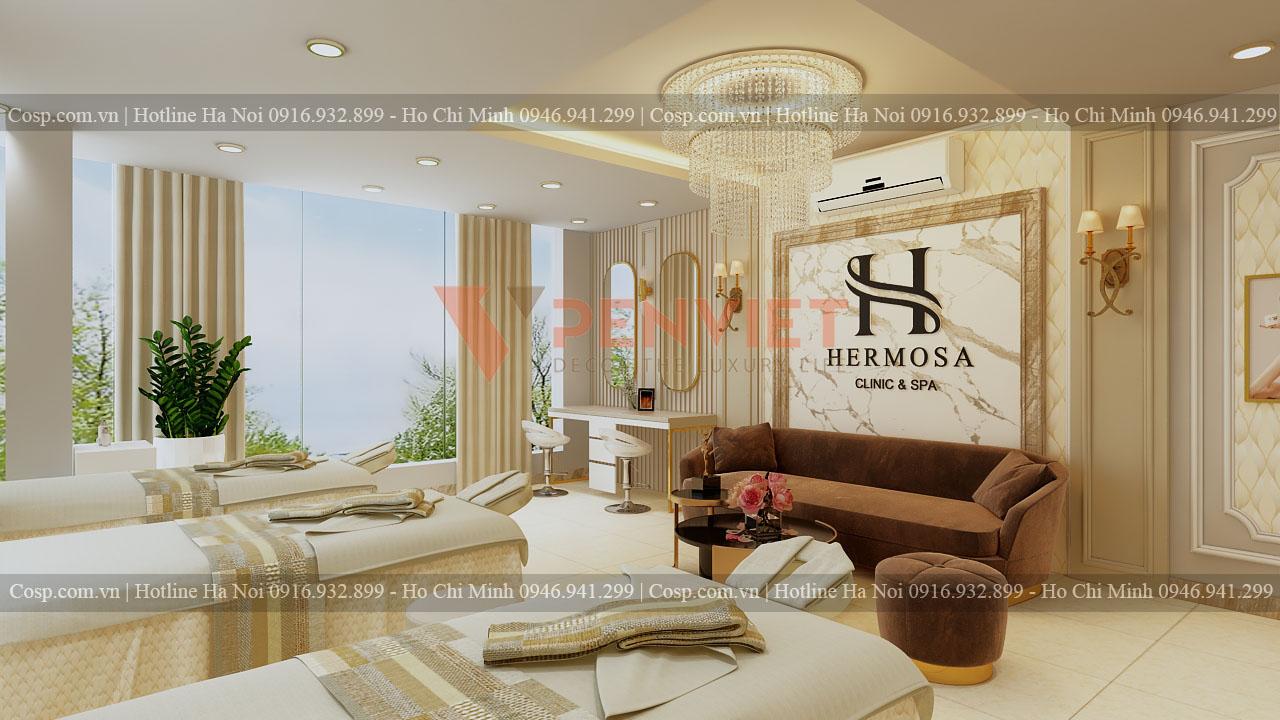 Thiết kế spa Hermosa - Khu vực bàn tiếp khách tầng 2