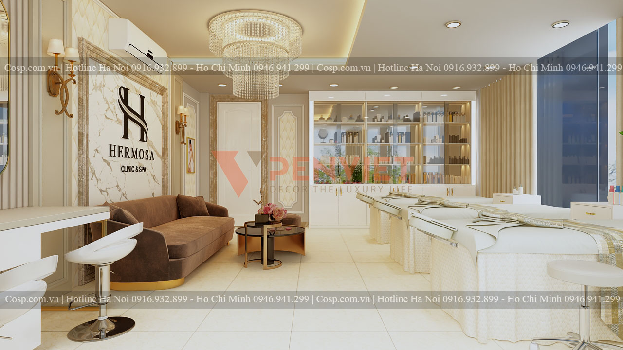 Thiết kế spa Hermosa - Khu vực giường spa ở tầng 2