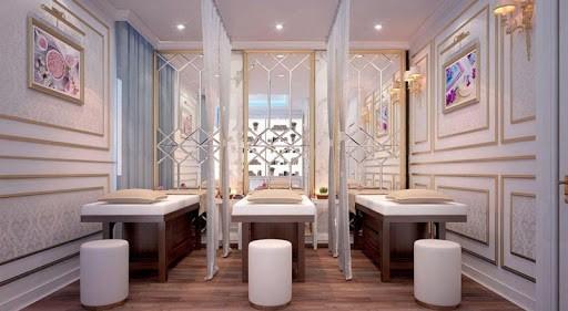 Nội thất spa đẹp phong cách Tân cổ điển với đặc trưng là các đường phào chỉ cầu kỳ