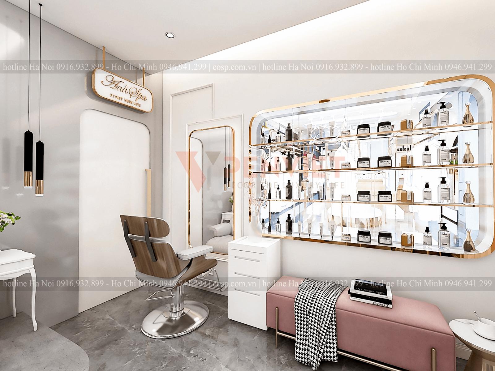 Khu vực sấy tóc và trưng bày sản phẩm của tiệm Anh Spa